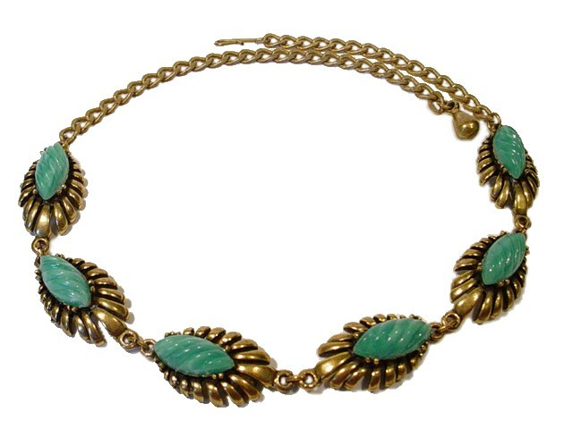 Astonishing antique festoon necklace vintage necklaces and vintage vintage jewelry necklace green thermoset with golden detailed links aloadofball Gallery