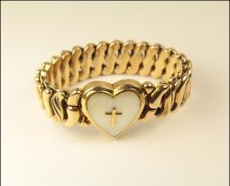 Heart, MOP golden Cross sweetheart bracelet