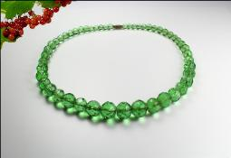 Lovely green graduated faceted crystal necklace
