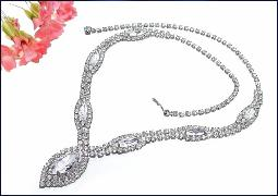 Crystal rounds and maruqise sets, rs covers this necklace from front to back