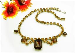 Large Amber Emerald and Citrin RS Vintage Jewelry
