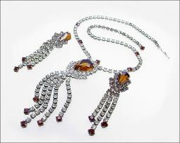 Brilliant Antique Rhinestone Necklace Parure
