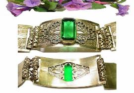 Huge Emerald Glass Front Edwardian Bracelet