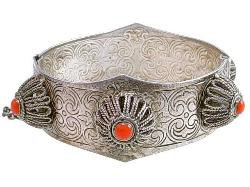 Antique Bangle Embossed Engraved | Pin Closure And Orange Cabs