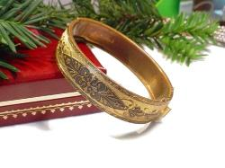 Embellished Etched Gold Bangle Bracelet