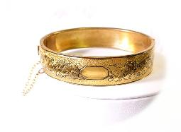 Victorian revival PAT. 2114930 golden bangle bracelet