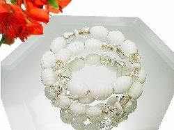 Honey Barrel Milk Glass and Crystal Miriam Haskell Bracelet