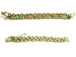 Heavily Golden Hearts Antique Bracelet