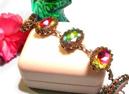 This gorgeous watermelon rivoli bracelet is nothing short of exciting while beautiful at the same time