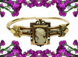 Edwardian Cameo Bracelet! Incised PAT DEC 16, 1879
