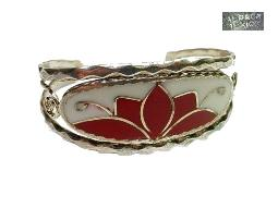 Signed Alapaca Mexico bangle bracelet with inlays