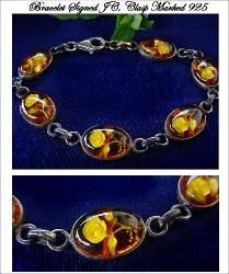 Signed JC bakelite apple juice bracelet