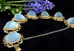 Vintage jewelry blue carved bracelet and earrings