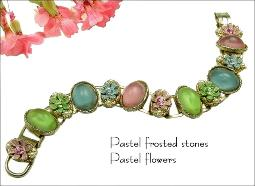 Pastel frosted glass stones and color flowers succeeding each other continuously with a strong mix of vivid colors bracelet