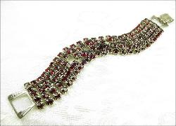 Vintage deep red multi row shimmering bracelet amazing clasp