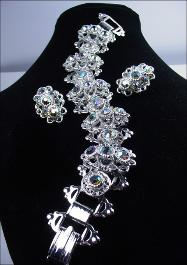 High Volume Crystal Silver Bracelet Demi Parure