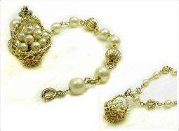 This vintage bracelet holds a basket of pearls!