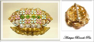 Victorian Enamel and Rhinestone Brooch | C-Clasp on Reverse