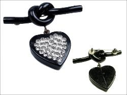 Antique Pave Heart Love Knot Brooch