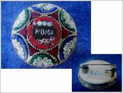 Antique ROMA Micro mosaic Pin | Signed ROMA