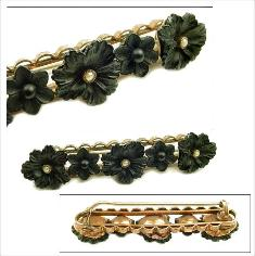 Victorian French Jet Florals with Seed Pearls | Tube Hinge & c-clasp