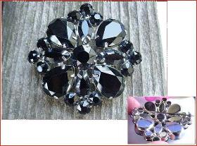 Thick Jet Black Brooch | Longer Pin Stem