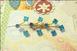 Table Cut Square blue stone brooch