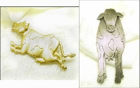 Two Figural Cow Broochs | Vintage Figural Brooch Pins