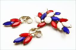 red white blue vintage jewelry