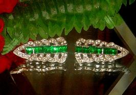 Two - Matching Antique 1910 Emerald Cut Art Deco Dress Collar Pins