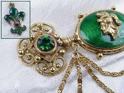 Guilloche Gold Brooch with Long Pin Stem