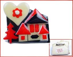 Heart Red Back House Pin by Lucinda