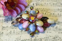Tiers and Tiers of Stones Vintage Brooch Juliana
