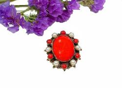 Designer Signed Original by Robert | Red Multi Prong Oval Center