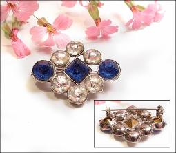 Cobalt Blue & Crystal RS Antique Brooch