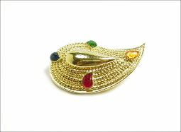 Gold Red Yellow Blue Green Brooch