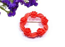 Carved Coral Brooch