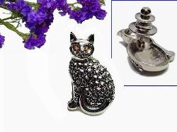 Kitty-Cat Tack Pin Brooch | Studded Marcasites