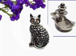 Kitty-Cat Tack Pin Brooch Studded Marcasites
