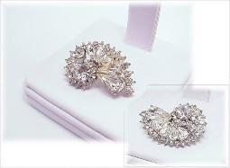 Glimmering Faceted Pear & Crystal RS | Vintage Wedding Brooch