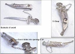 Art Nouveau Sterling Filigree Scimitar w/ removable Scabbard