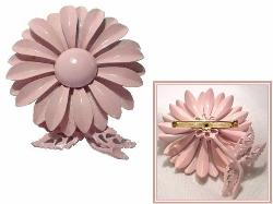PINK Vintage Metal Brooch | Metal Flower Vintage Brooch