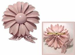 PINK Vintage Metal Brooch Metal Flower Vintage Brooch