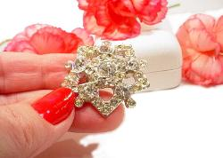 Antique Lead Crystal Brooch | Bridal Crystal Vintage Rhinestone Brooch