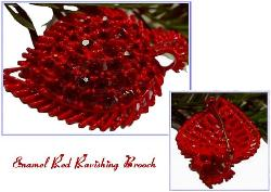 Ravishing Red Antique Enamel Brooch Pin
