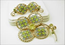 Gold with Frosted Blues & Green Stones Vintage Brooch Set