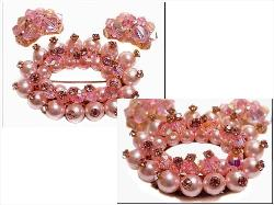 PINK CRYSTAL BROOCH & EARRINGS
