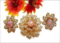 Opal Brooch and Earrings | Open Fret Wrok Vintage Brooch Set