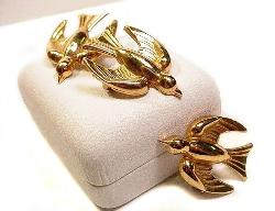 Coro Vintage Jewelry | Three Brooches - Bird Scatter Pins