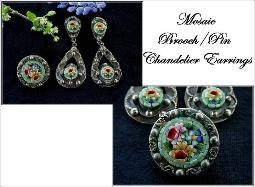 Antique 1900s Brooch/Pin and Chandelier Mosaic Earrings Antique Brooch Set